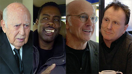 Jerry Seinfeld, Carl Reiner, Chris Rock, Larry David, Colin Quinn, Mario Joyner  &  Kevin Hart on Comedians in Cars Getting Coffee