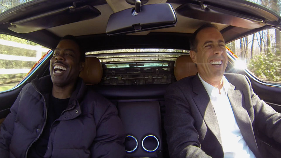 Jerry Seinfeld, Jerry Seinfeld, Judd Apatow, Bill Burr, Jim Carrey, Margaret Cho, Larry David, Bob Einstein, Tina Fey, Ricky Gervais, Kevin Hart, Jay Leno, Jim Gaffigan, Kathleen Madigan, Bill Maher, Sebastian Maniscalco, Barry Marder, Chuck Martin  &  Trevor Noah on Comedians in Cars Getting Coffee